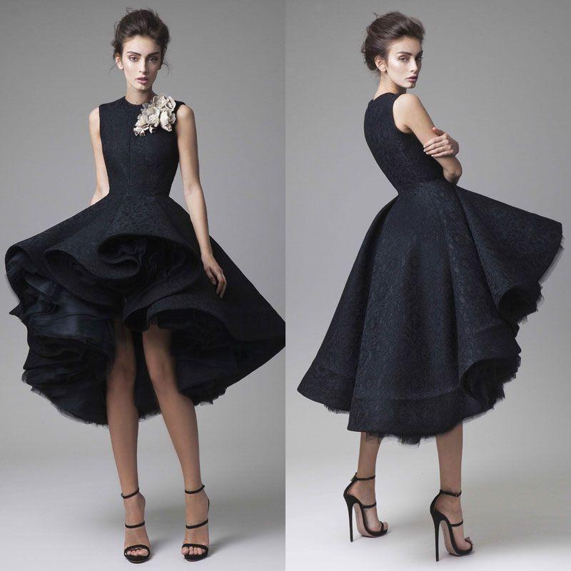 Krikor Jabotian Prom Dresses Hand Made Flower Jewel Neck Black Knee Length Formal Evening Gowns Sleeveless Red Carpet Party Dress