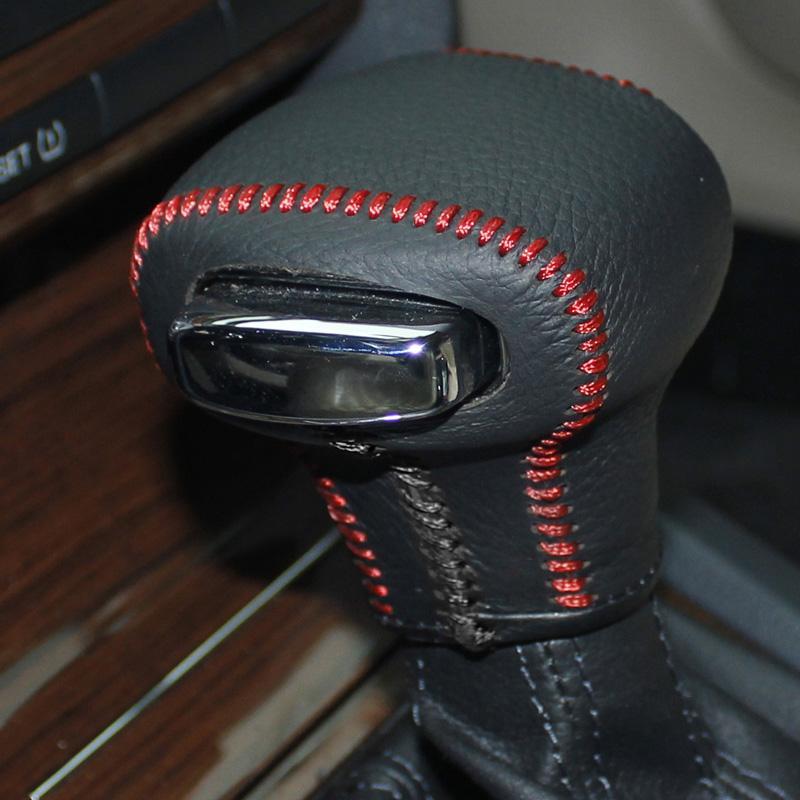SKODA Octavia için kılıf / Superb otomatik vites kapağı El dikiş araba styling hakiki deri DIY Oto İç dekorasyon