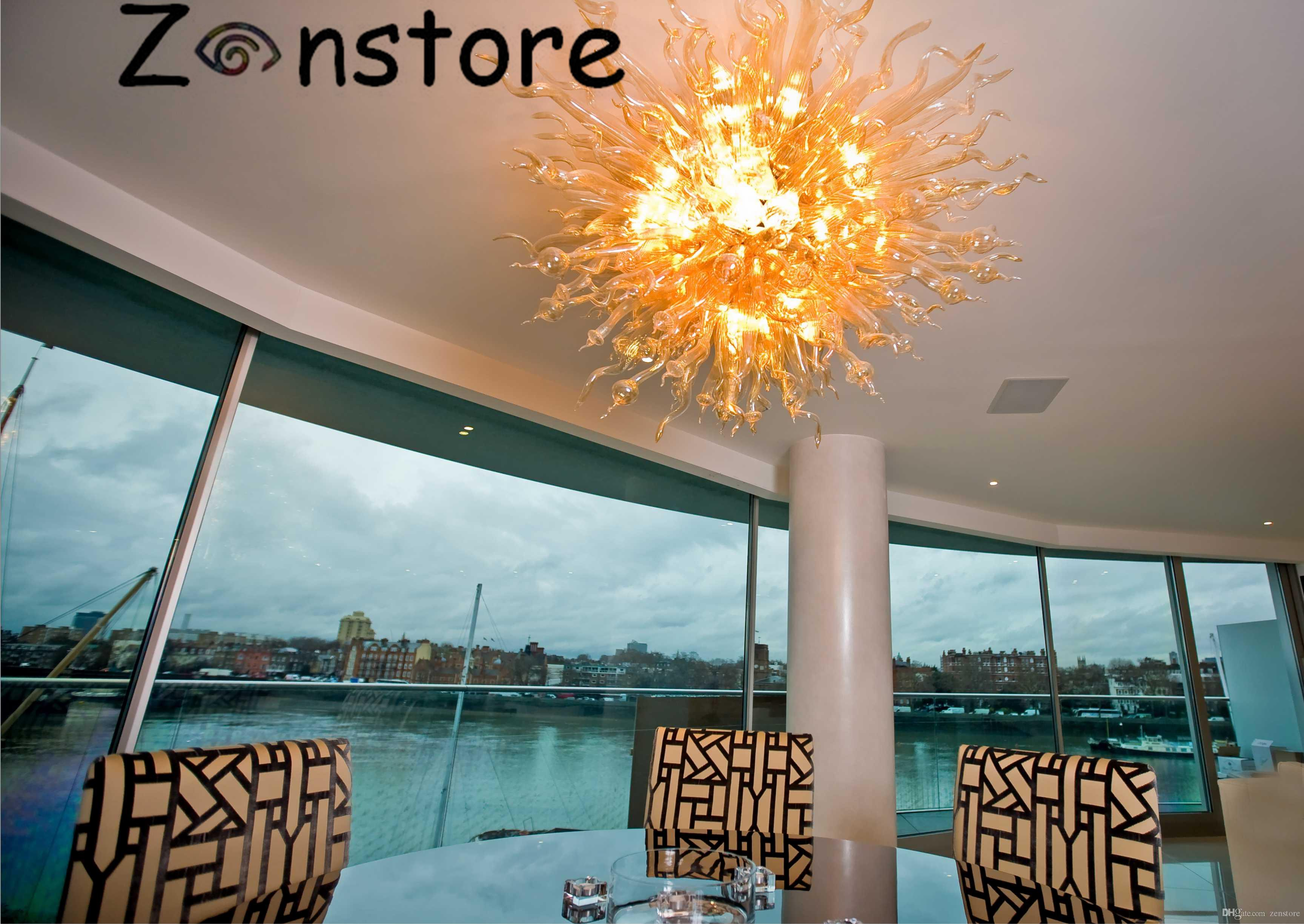 Hotel Table top Centerpieces Hand Blown Glass LED Chandelier