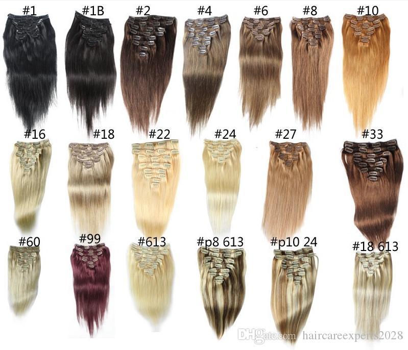 """14 """"- 26"""", 8 pcs Remy não processado Remy Do Cabelo Humano reta clip-in cabelo remy extensões de cabelo humano, 12 cores para escolher, 140 g / set,"""