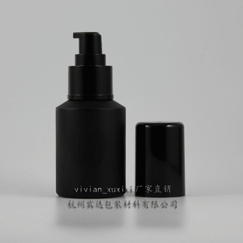 검은 플라스틱 로션 펌프, 화장품 포장, 화장품 병, 액체에 대한 포장 60ml 검은 서리로 덥은 유리 로션 병
