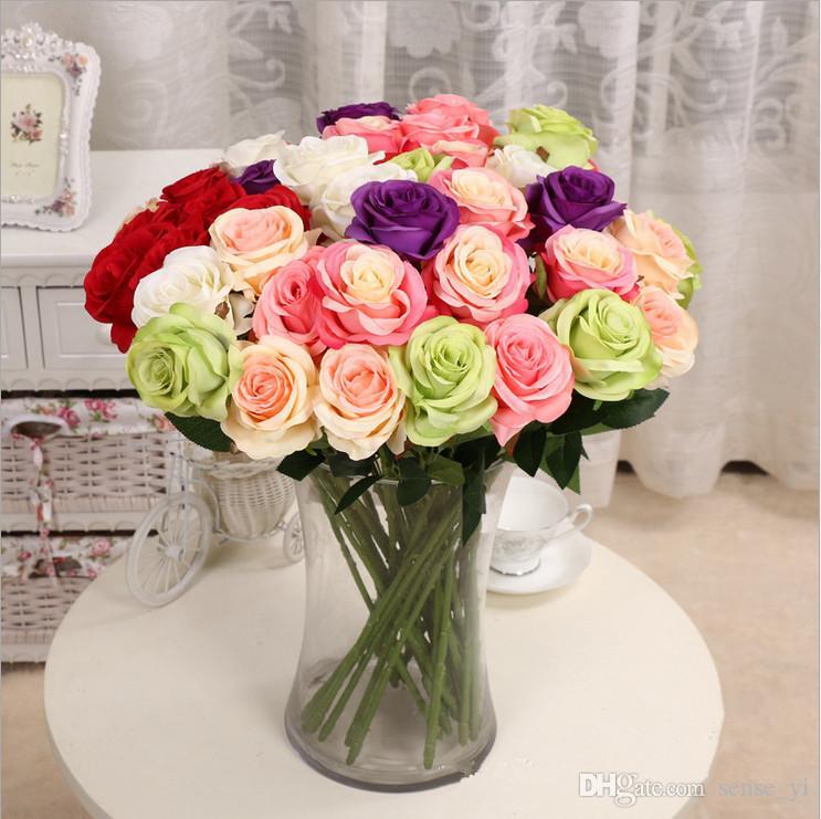 10 pcs Décor Rose Fleurs Artificielles Fleurs En Soie Real Touch Rose Mur De Mariage Bouquet De Mariage Décoration De La Maison Parti Accessoire Flores