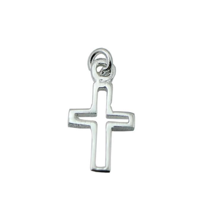 Beadsnice Cut-Out Cross Pendant 925 Sterling Silver Cross Charms Tiny Charms Necklace Charms Handmade Gift for Her ID 30435