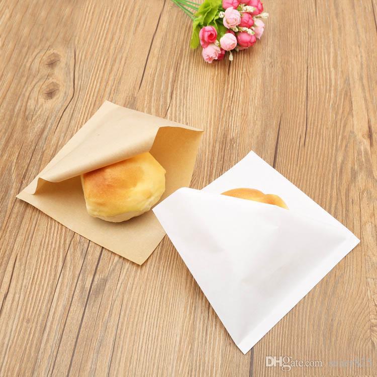 100pcs 15x15cm sacchetto di imballaggio di carta kraft panino a prova di olio ciambelle borse per sacchetti di pane cibo panetteria triangolo bianco tan
