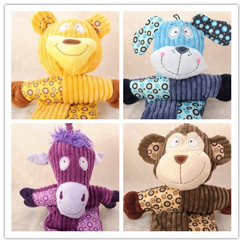 Free shipping 2016 new style large pet dog puppy squeaker sound plush toy playing toys for pet five styles 10pcs/lot