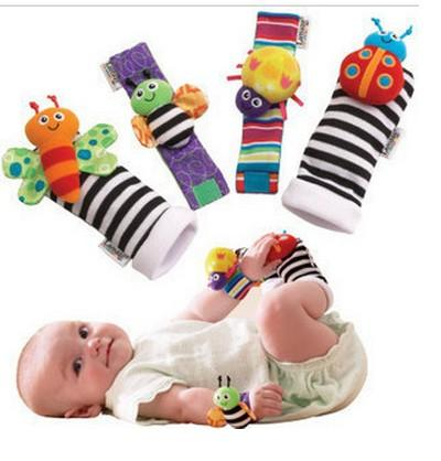 New arrival sozzy Wrist rattle & foot finder Baby toys Baby Rattle Socks Lamaze Baby Rattle Socks and wristbands
