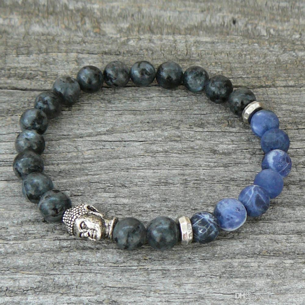 SN0238 Pulseira de Buda Dos Homens ou Das Mulheres Pulseira de Stretch Pedra Natural Pulseira Cinza Larvikite Braizl Pulseira de Pedra Azul Stripe