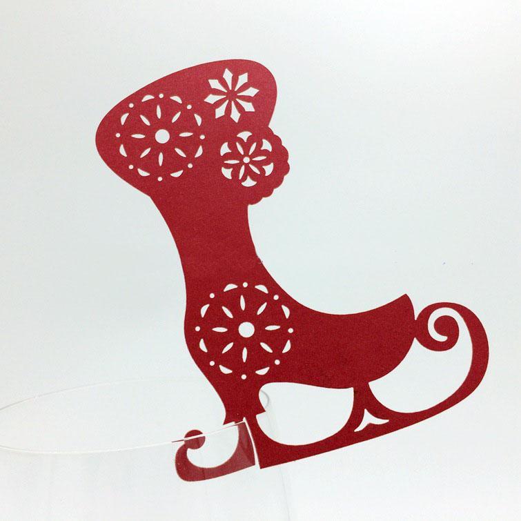 60X Freies Verschiffen Heißer Verkauf Weihnachtsfeier Dekorationen Laserschneiden Weingläser Platz Sitz Name Karten Strumpf Geformt Papier Tisch Dekor