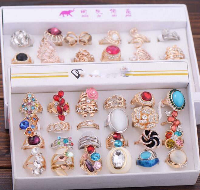 24pcs / lot Mix Style Réglable Mode Cristal Bijoux Ouvrir Bagues Pour Bijoux Cadeau RI15 * Livraison Gratuite
