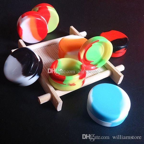 Recipientes de Cera antiaderente rodada silicone pequeno recipiente de Silicone dabber frascos de cera de grau alimentício dab armazenamento jar 32 * 15mm 3 ml de borracha titular DHL