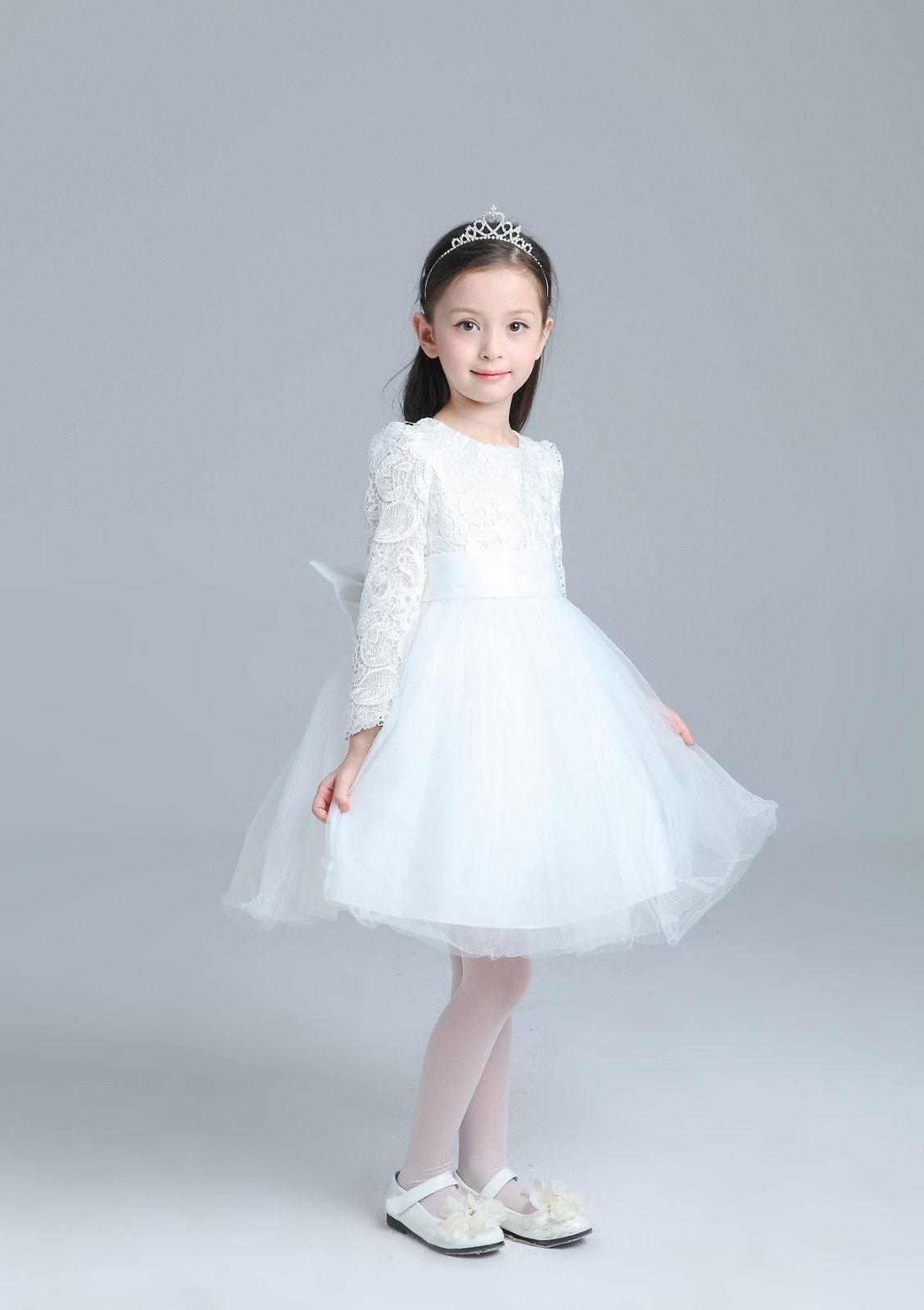 Lace Tulle Trimmed Baby Girl Princess Flower Girl Dress Kids Dress ...