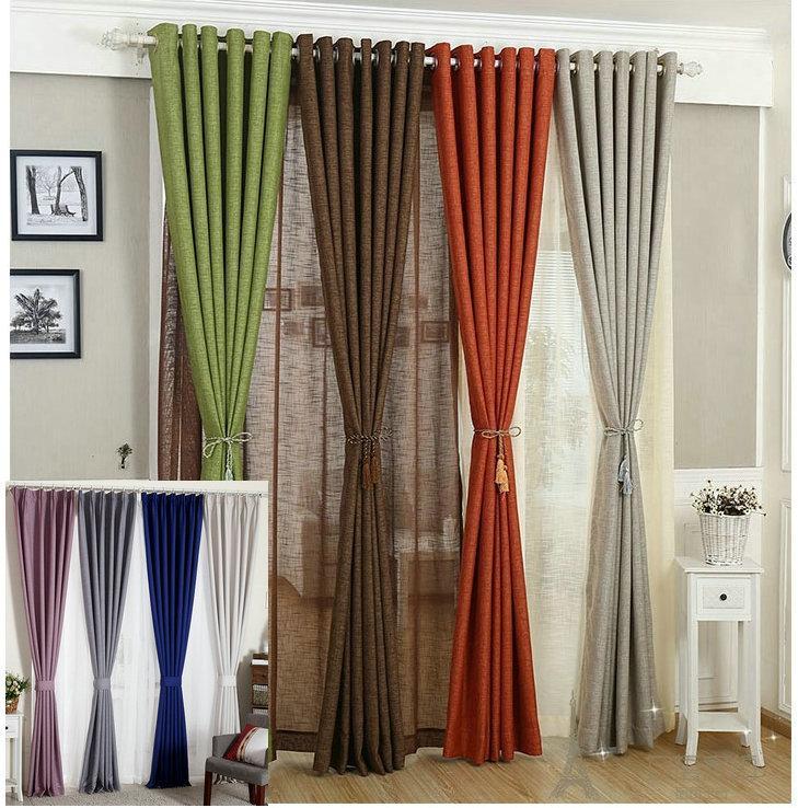 Rideaux en lin pour salon / Tulle + rideau en tissu blanc rouge orange vert solide rustique respectueux de l'environnement traitement de fenêtre Shades