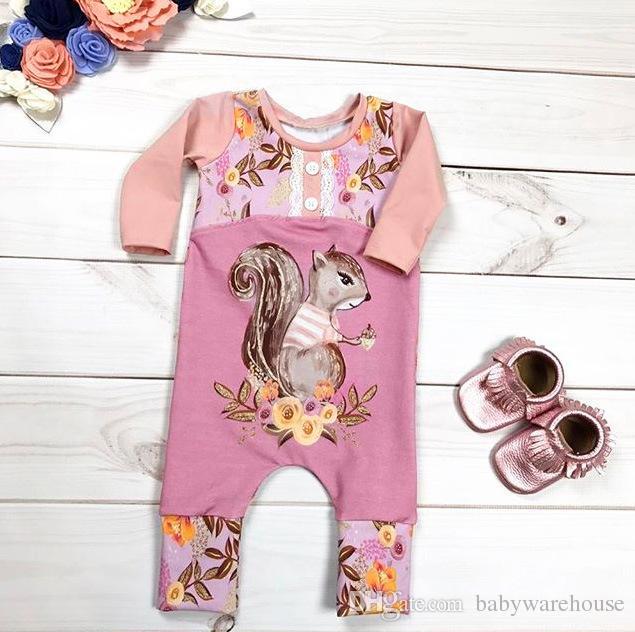 Neonate Vestiti 2018 Primavera Autunno Pink Squirrel Stampa Flower Pagliaccetto Abbigliamento per bambini Pagliaccetti in cotone Tuta Bambini Abbigliamento Boutique