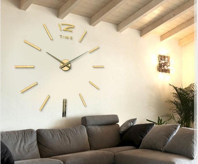 DIY 3D 미러 아크릴 스티커 벽 시계 (임의의 색) 황금 0,201,003