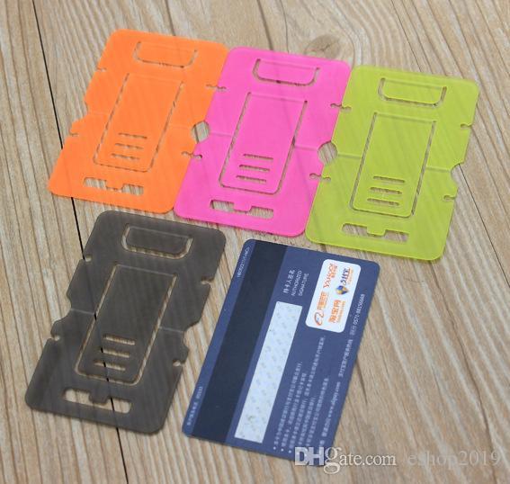 Oi-qualidade de Plástico Portátil Cartão Dobrável Montagens de Telefone Celular Tablet Suporte Titular Para Fone Mesa PC / Bobin Winder 100 pçs / lote