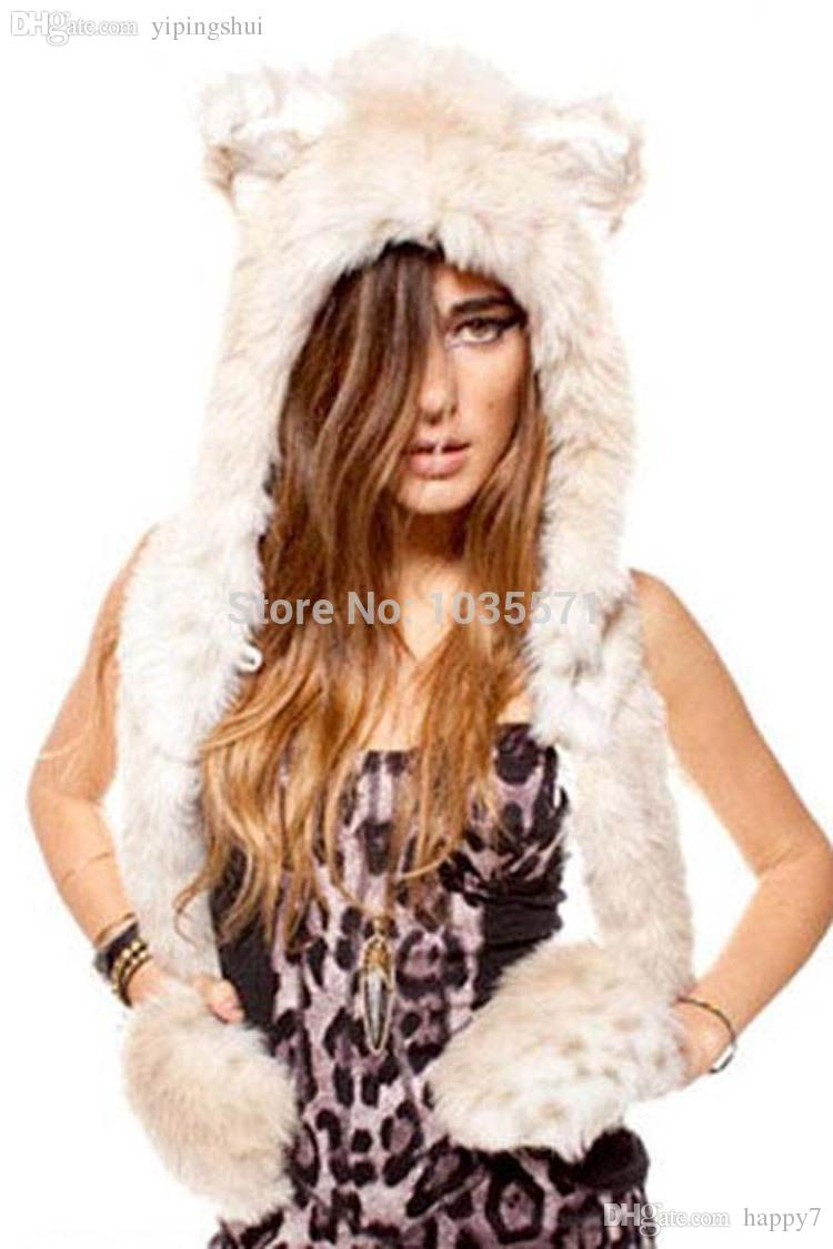 Wholesale-Winter Faux Fur Fashion Unisex Snow Leopard Full Hood Animal Hat with Scarf and Gloves TY905