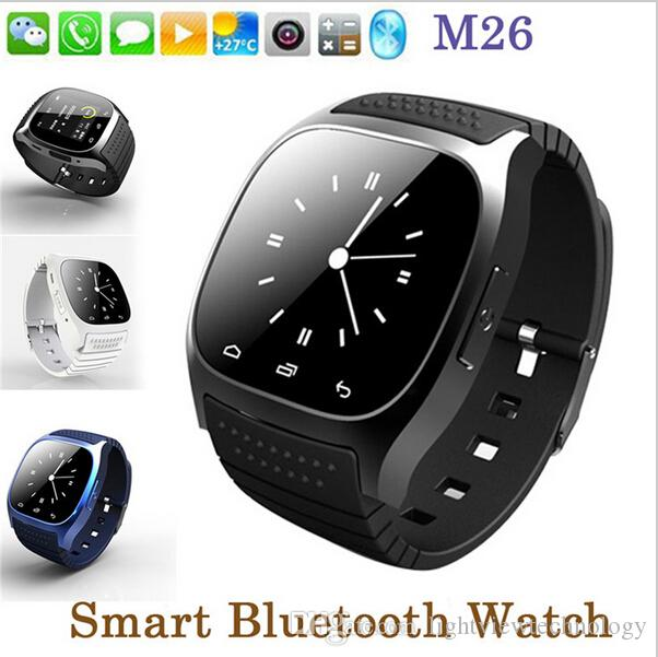 À prova d 'água smartwatches m26 bluetooth smart watch com led alitmeter music player pedômetro para apple ios android telefone inteligente