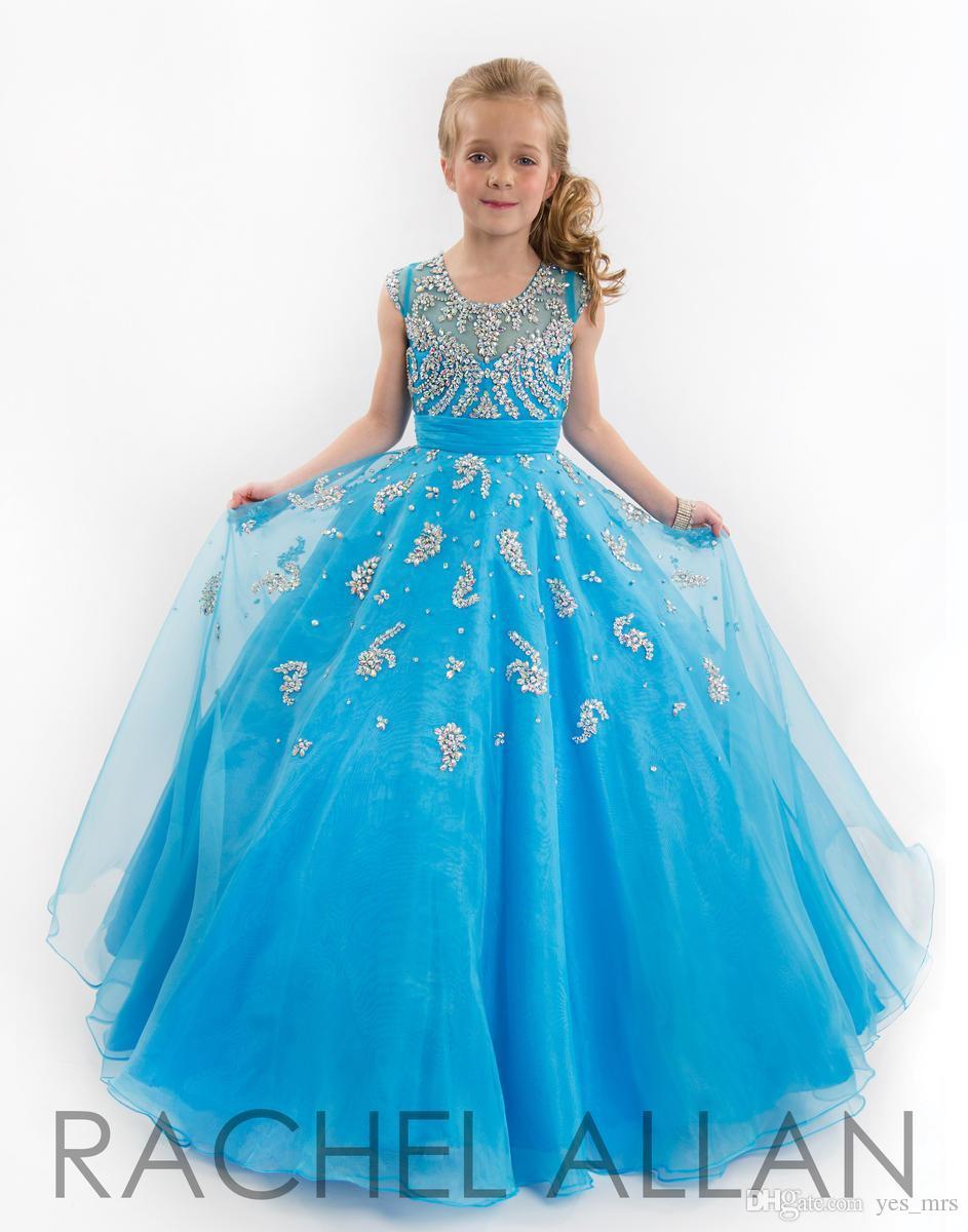 2020 Vestidos New Meninas baratos Pageant Dresses For Teens Illusion Neck mangas beades azul até o chão Tamanho 13 Party Girl crianças de flor
