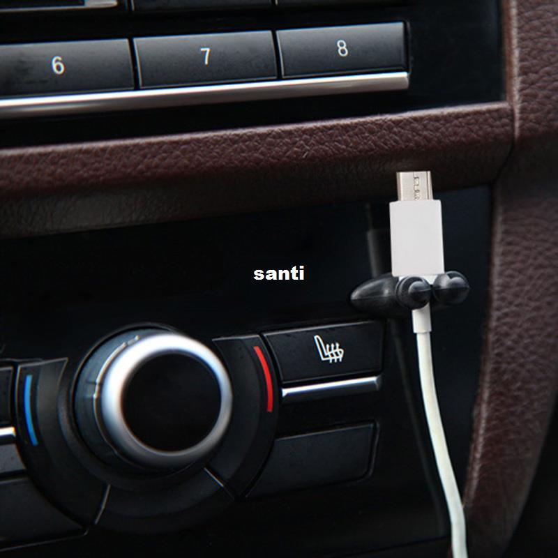 8Pcs Car Charger Line Headphone//USB Cable Car Clip Interior Accessory Black New