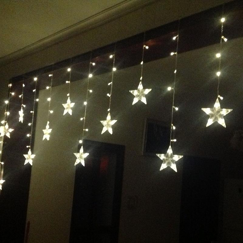 120LED 3M*0.6m curtain icicle string lights Christmas Garden five-pointed star lamps Wedding Party Decorations