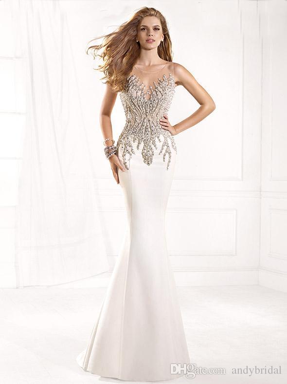 Tarik Ediz Prom Dresses Mermaid Evening Gowns Sheer Jewel Illusion ...