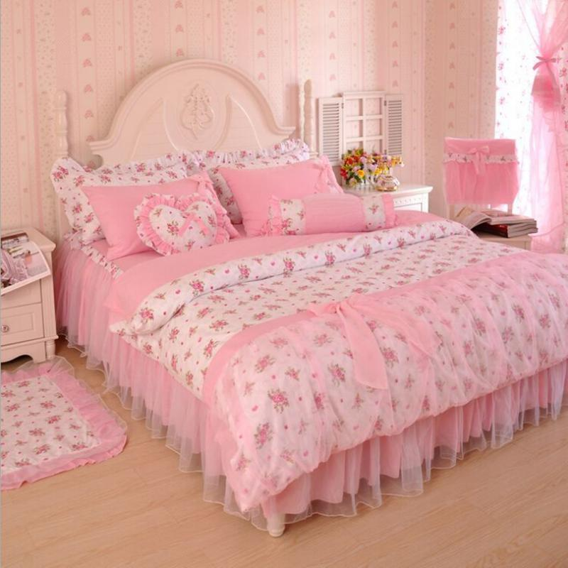 Lace Flower Floral Bed Skirt Pillowcases Bedroom Bedding Full Queen King Size