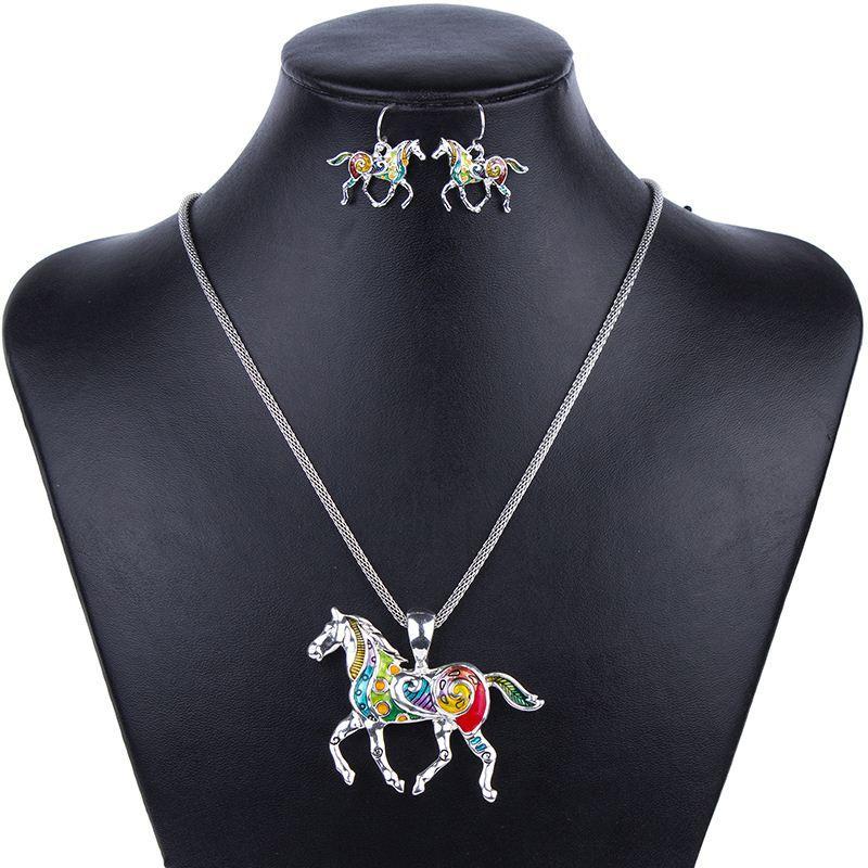 MS1504258 Sistemas de Joyería de Moda de Alta Calidad Chapado en Oro Multicolor Caballo Diseño Collar de la Mujer Conjunto de Joyería de Boda Regalos del partido