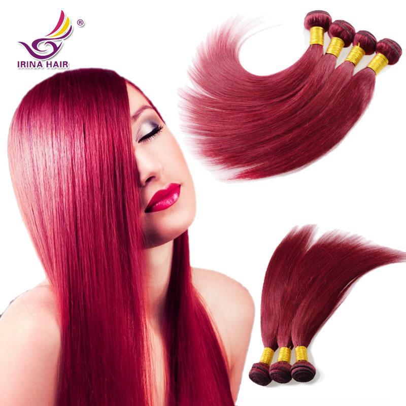 ブラジルのバージンヘアストレート99Jブルゴーニュカラー4ピースポルーヘア織り8 ''  -  30 '' 100%未処理の生の人間の髪の毛の伸び厚い端
