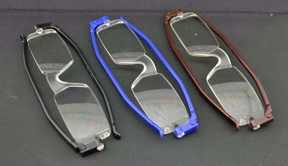 新しい360回転折りたたみポータブルメガネ箱12pcs /ロット付コンパクトの柔軟な読者
