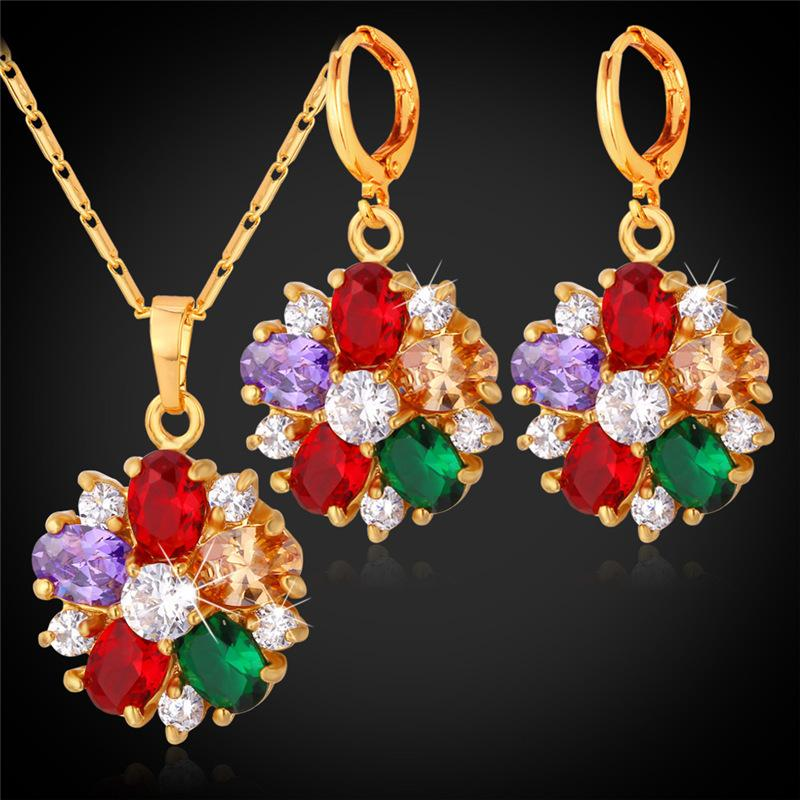 18K Gold Plated Crystal Necklace Earrings Set For Women Fashion Jewelry Mix-Color Cubic Zircon Flower Bridal Jewelry Sets PE1109