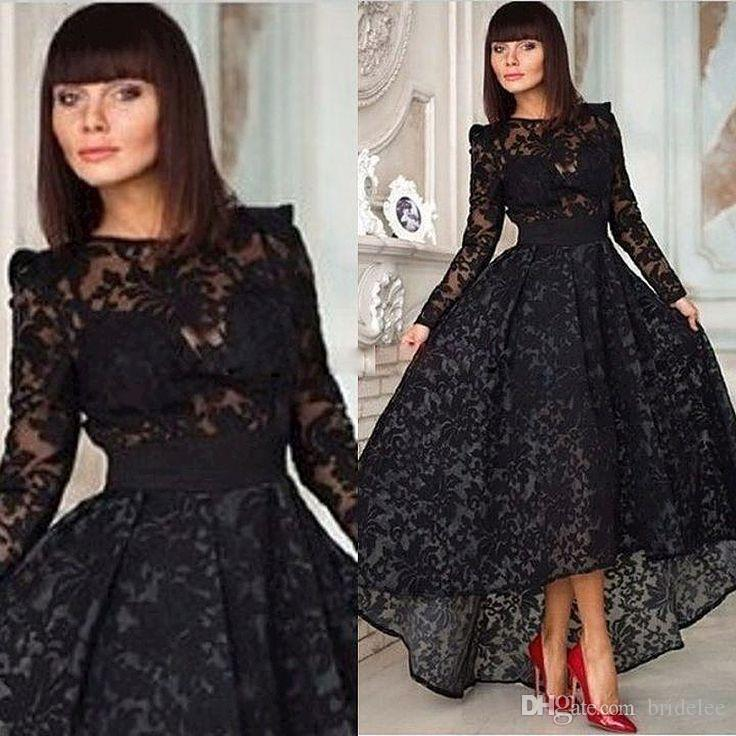 Formal Evening Dress 2018 Vintage Evening Gown Black Lace A Line Prom Crew With Long Sleeve Hi Lo Party Special Occasion Party Dresses