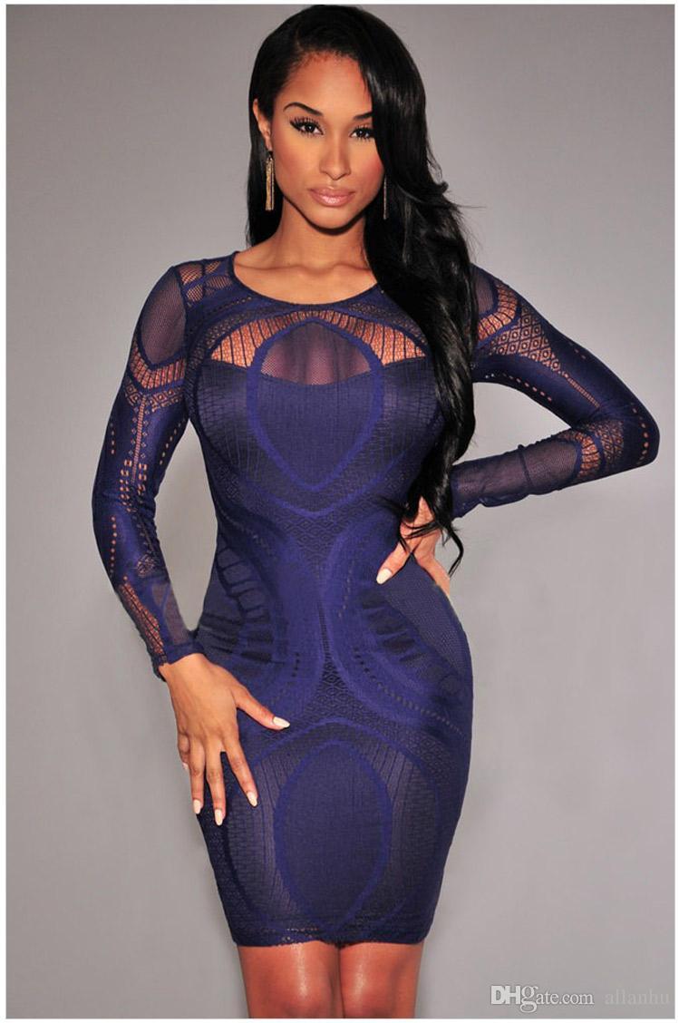 2016 Sexy Little Black Dress Club Dress 2016 O Neck Long Sleeve ...