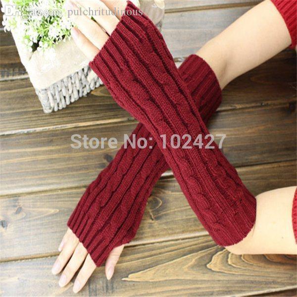 Wholesale-1Pair أزياء فتاة السيدات أصابع طويلة قفازات الشتاء الدافئة الذراع محبوك قفازات الصوف القفاز RetailWholesale