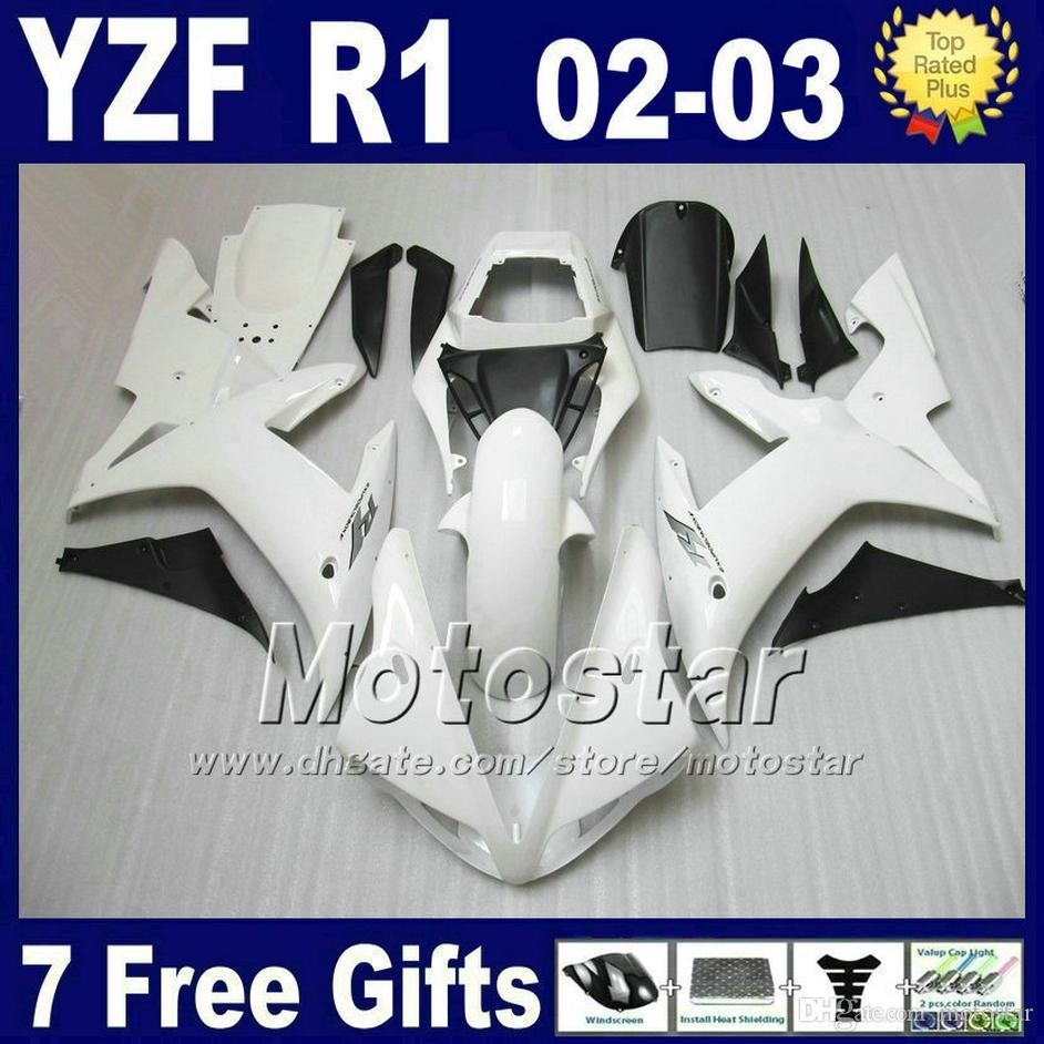 White Injection mold fairings for YAMAHA R1 2002 2003 body kits yzf1000 02 03 yzf r1 fairing kit set 4H6A bodywork+7 gifts