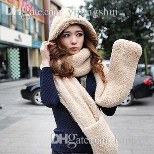 Wholesale-winter thick cashmere scarves hats gloves one double couple warm hooded scarves SCARVES-175