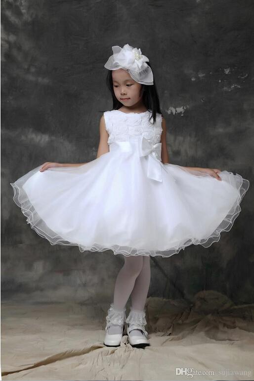 Lovely Lace Flower Girls Dresses for Wedding Ribbon Ruffles A Line Anke-Length Skirts Little Girl Pageant Dresses For Kids 2015