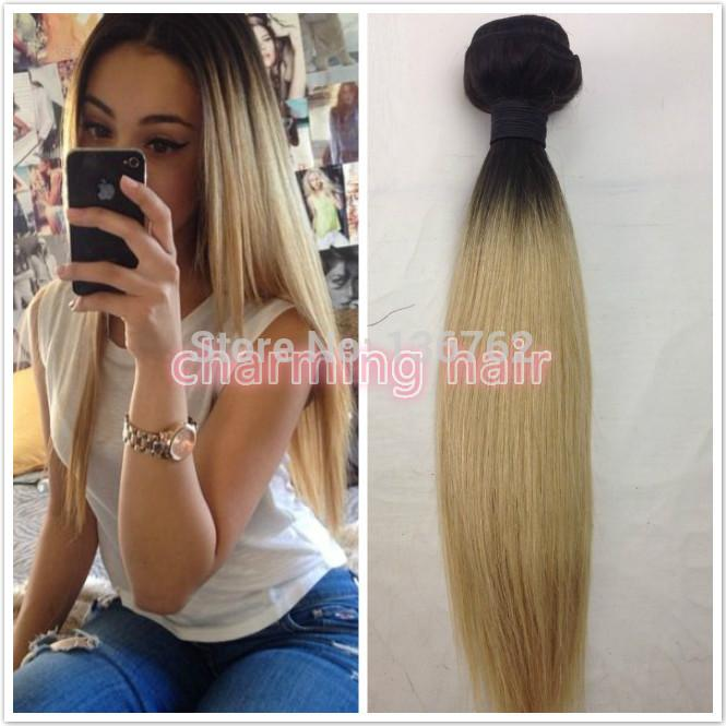 Dark root 1b 613 blonde ombre silky straight hair extension platinum blonde ombre two tone human hair weave weft