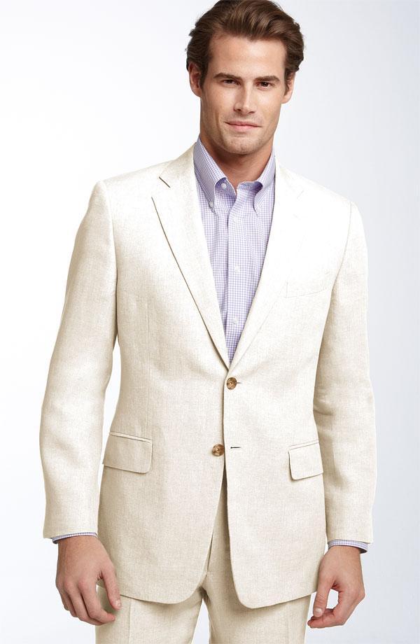 2015 Summer ivory linen men suits notched Lapel tuxedos beach ...