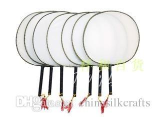 Plain White DIY Round Hand Fan Handle Students Children practice Fine Art Painting Program Large Chinese Silk Fabric Fan 10pcs/lot