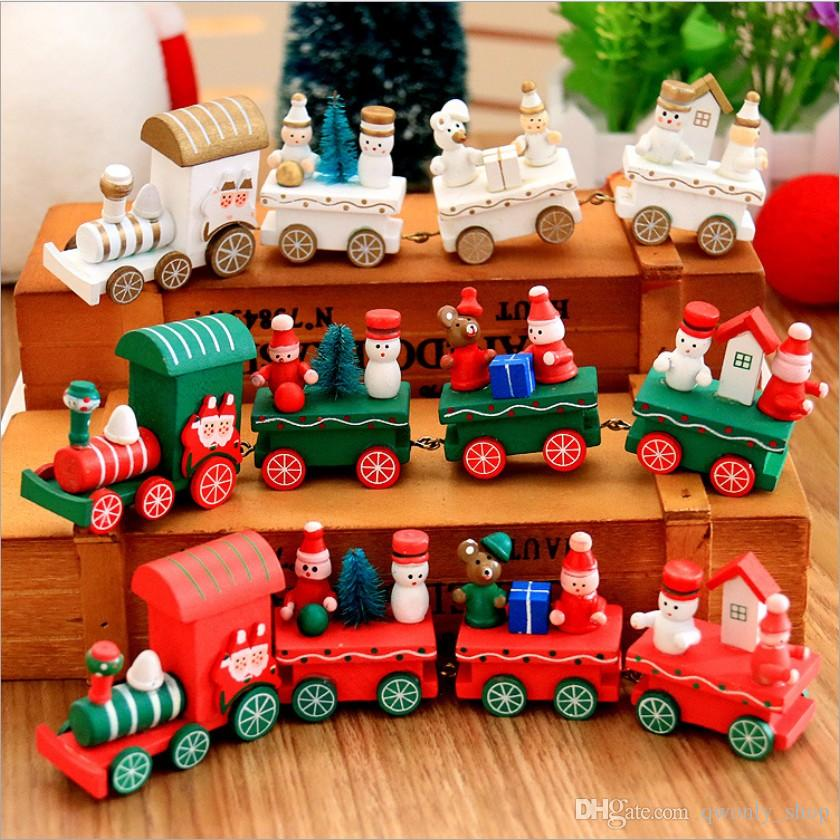 Small Mini Wooden Christmas Train Charming Lovely 4 Piece Christmas Cars Innovative Gift for Children Diecasts & Toy Vehicles