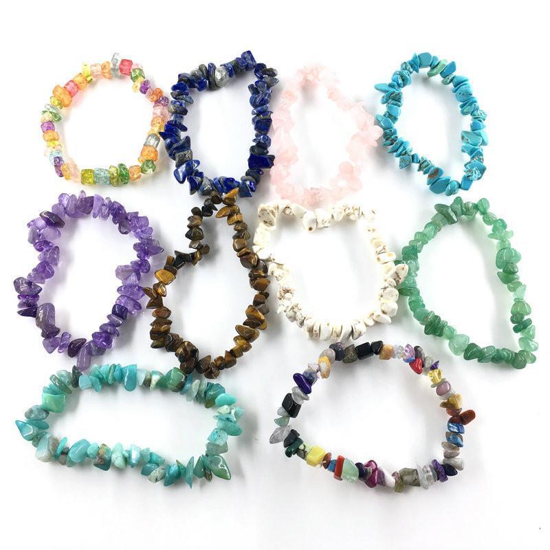 Peculiar Irregular Natural Stone Bracelet 30 Colors Rose Quart Green Aventurine Red Agate Crystal Turquoise Bangles For Women & Men Gift