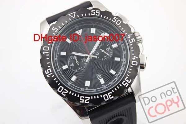 De lujo para hombre de calidad superior movimiento Bentey nuevo movimiento de cuarzo TODO negro trabajando A27364 hombres cronógrafo correa de goma relojes reloj de pulsera