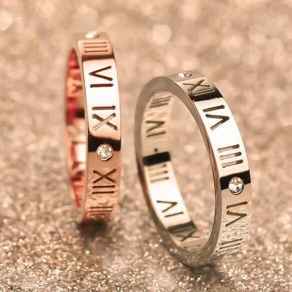 Silver Rings Hot Sale Inlay CZ Diamond Rome Number Stainless steel Rings For Women Girl Party Fashion Jewelry Wholesale Free Shipping 0307WH