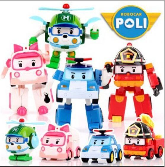 بولي تشوه سيارة Robocar فقاعة اللعب 4 نماذج كوريا الجنوبية مزيج robocar بولي