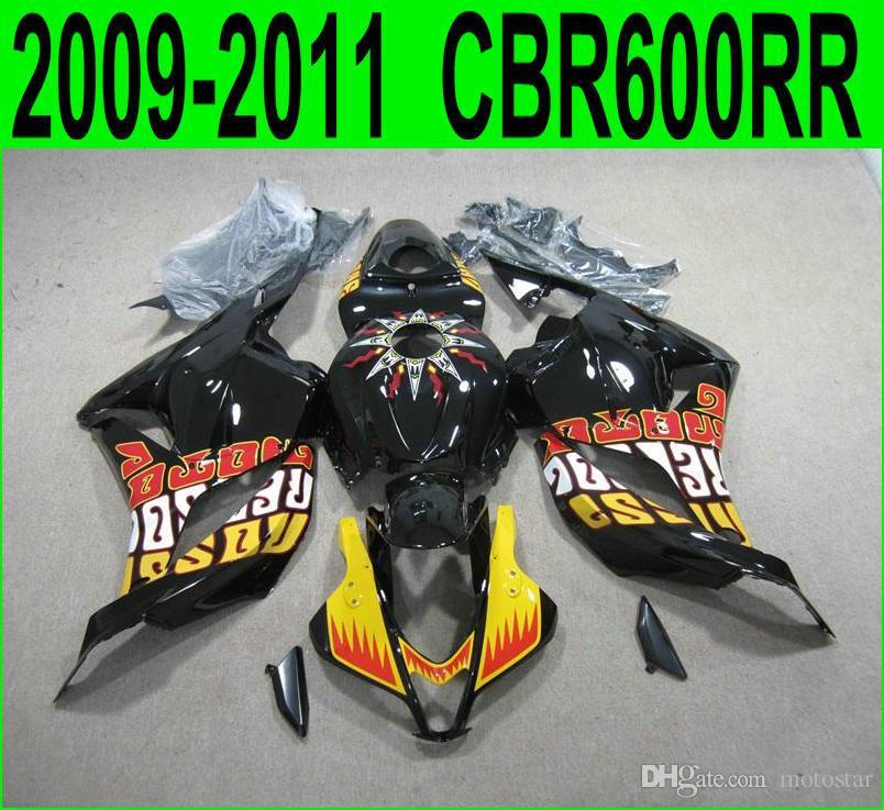 7 regali + carene moto per Honda Stampaggio a iniezione CBR600RR 09-11 carenatura giallo nero CBR 600 RR 2009 2010 2011 YR48