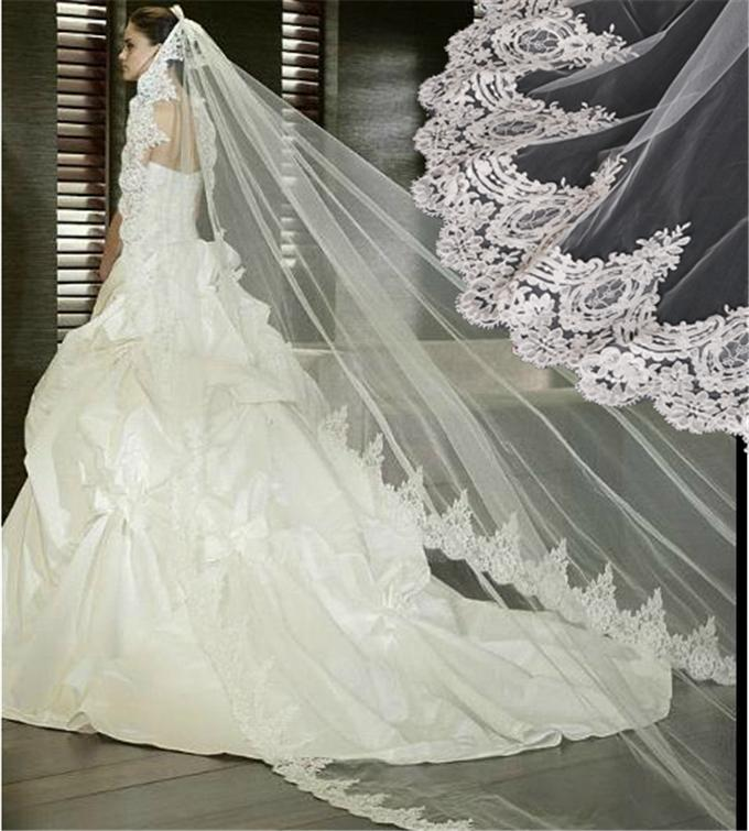 Wedding Bridal Veil Satin Edge With Comb Elbow Elegant Cathedral White Ivory 2T
