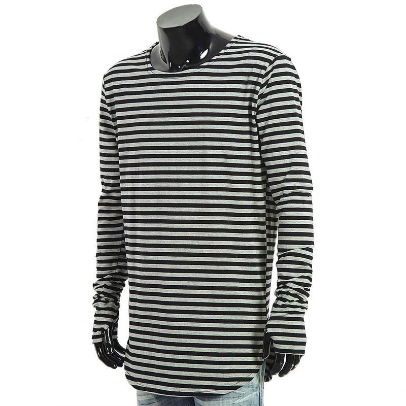 2016 Men t shirts tyga hip hop swag striped long sleeve t shirt extended kanye west men oversized tee shirt homme t shirt men (2)