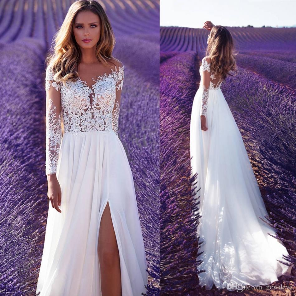 discount milla nova wedding dresses lavender dreams sheer long sleeves  country bridal gowns sexy side split lace chiffon a line wedding dress plus