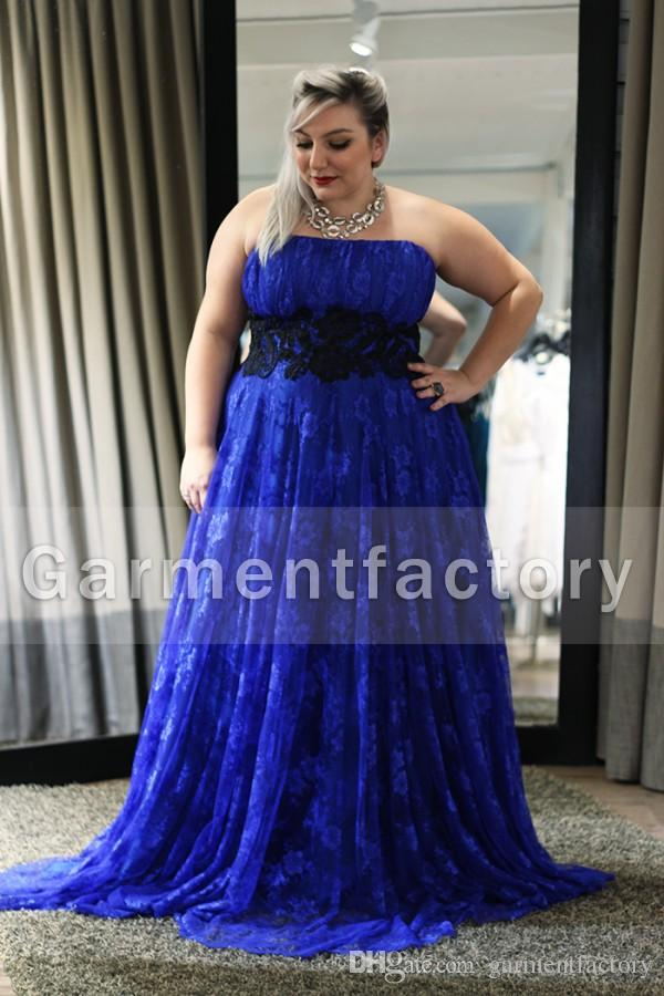Royal Blue Plus Size Prom Dress 2014 Strapless A Line Sweep Train ...