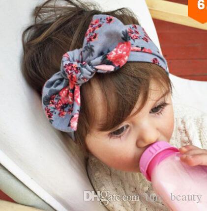 Bébé Enfants Fille Flower Bur Band Bandeau Turban Knot Bandeau de lapin Couvre-tête Bur Bow Cheveux Accessoires Vente chaude 10pcs /
